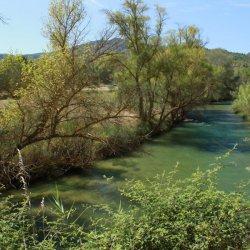 Río Segura en alrededores de la presa El Cenajo en Albacete