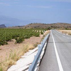 Paisaje por la carretera de Jumilla hacia Hellín en la provincia de Albacete