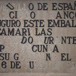 Placa conmemorativa en el Embalse de Camarillas en Albacete