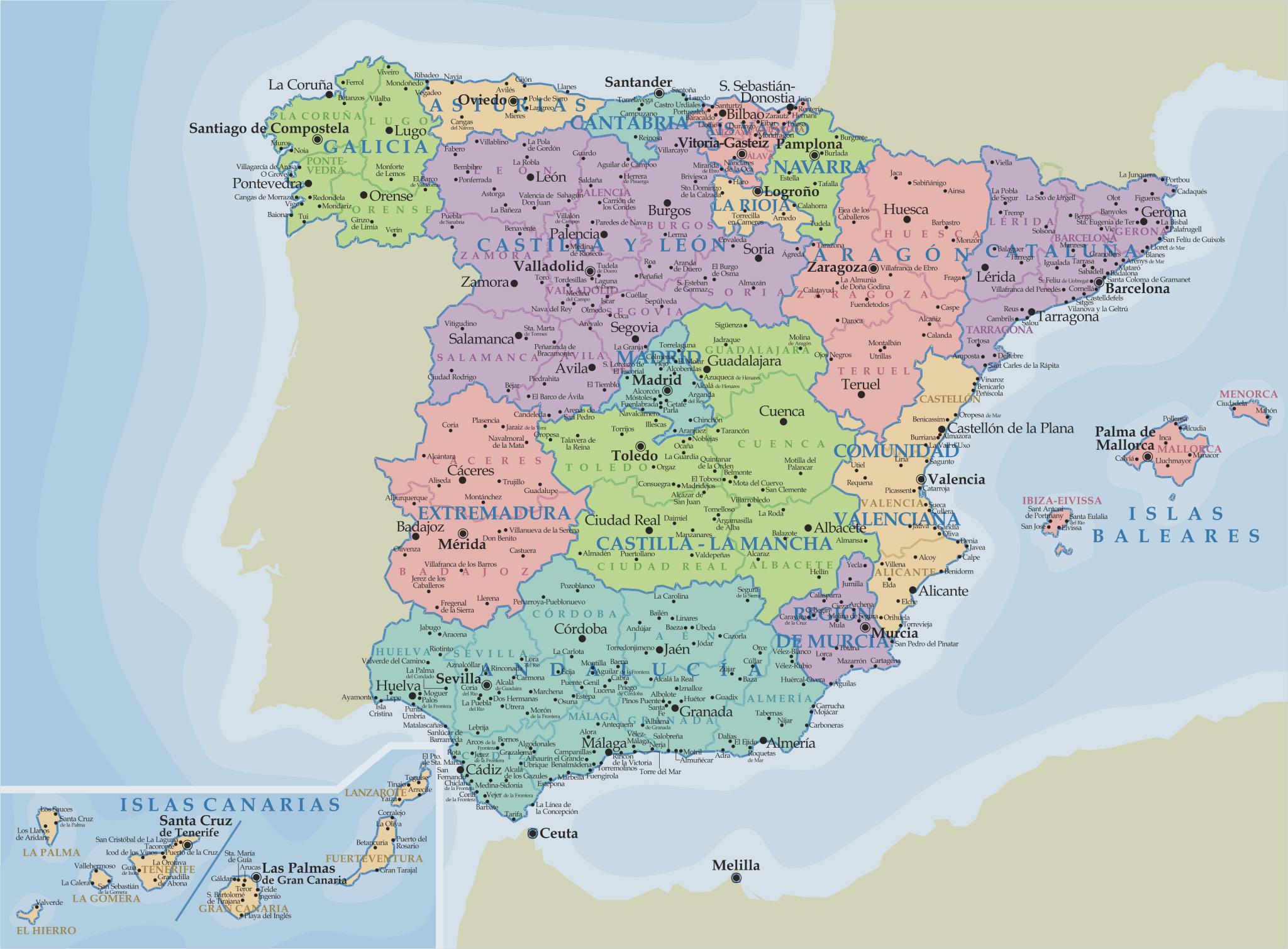 Karta Avtonomij I Provincij Ispanii